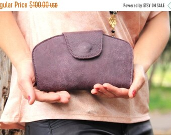 Leather wallet women, purple leather wallet, soft leather wallet, cash money wallet, Womens wallet, Leather Clutch Purse, purple leather bag