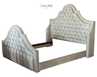 Diamond Tufted Bed Wingback Tall Hollywood Regency Glam ANY FABRIC Or Size By Custom Order Only