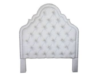 Tufted Headboard Glam Queen King Full Twin Crystal Extra Tall Deep Diamond Tufting Crystal Nail head Any Fabric CUSTOM ORDER ONLY