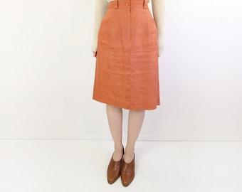 VINTAGE Linen Skirt Apricot Orange 1980s