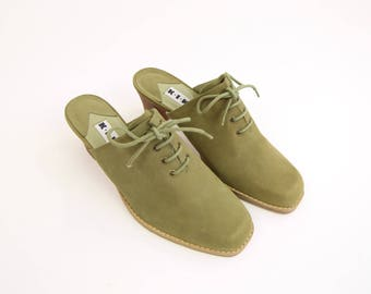 VINTAGE Oxford Heels Green Mules Size 8.5