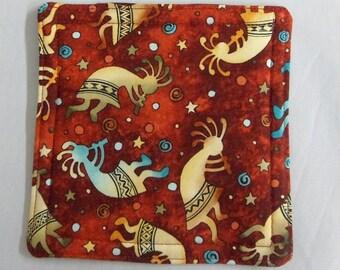 Mug Rugs Kokopelli Fabric Mug Mats 4 Southwest Fabric Coasters Reversible Gift for Hostess Gift for Her Gift for Him