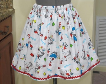 Read Across America - Dr. Seuss Full Gathered Skirt - Ready to ship sizes X-Small-Large