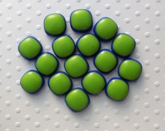 Seahawk Fused Glass Beads - Fused Glass - Small Beads - Jewelry Findings - Lampwork Beads - Cabochon - Cab - Green Beads 1328
