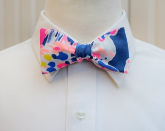Men's Bow Tie, navy pink bow tie, Sunken Treasures bow tie, groomsmen gift, wedding party bow tie, groom bow tie, Lilly bow tie, prom bowtie