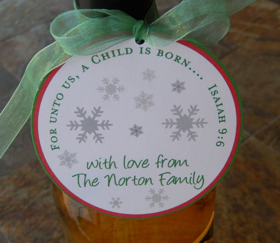 """Christmas Bible Verse Custom 3"""" Favor Tags - Isaiah 9:6 for unto us - for Mason Jar Gifts - Cookie Boxes - (50) Thank You Holiday Gift Tags"""