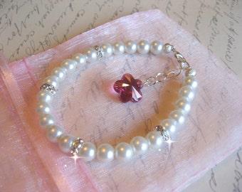 Custom Flower Girl Youth Swarovski Fushsia Pink Flower / Rhinestone and Pearl Bracelet - Flower Girl Bracelet - Childrens Bracelet