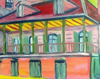 Madame John's Legacy New Orleans | 8 x 10 print of oil painting Louisiana artist Kristi Jones | fauvism French Quarter art