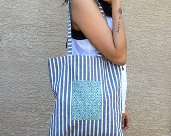Reversible tote bag literary tote bag with pocket book bag college student bookish gifts mail bag shipping bag gift for her beach tote