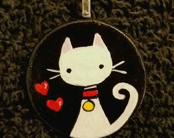 White Kitty OOAK Hand Painted Pendant