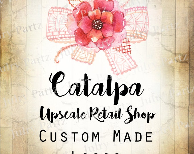 LOGO in CATALPA•Premade Logo•Jewelry Card Logo•Flower Logo•Custom Logo•Shop Logo