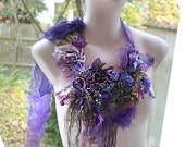 RESERVED Beautiful Art To Wear Unique Wisteria Necklace With LOVELY ANEMONE Antoinette Gipsy  Boho Tattered