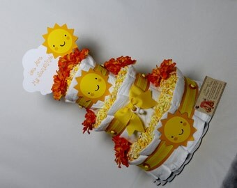 You are my Sunshine Baby Diaper Cake Shower Gift or Shower Centerpiece