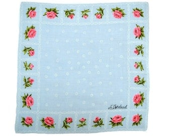 JO COPELAND HANKIE Gorgeous Border of Deep Pink Roses on Light Blue White Filigree Detail Linen Signed 1950s Mid-Century Excellent Condition