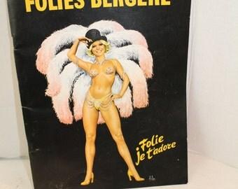 Folies Bergere Vintage souvenier booklet folie je t'adore 1980's ephemera