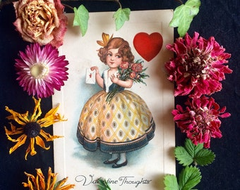 Vintage Valentine Postcard - Girl with Flowers - Heart