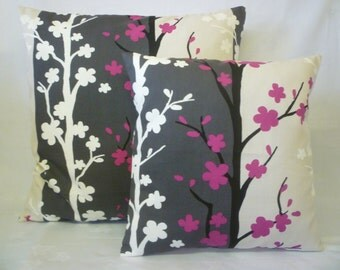 """PAIR Fuschia Pink Pillow Covers Taupe Floral Designer Cushions Throws Scatter Decorative Pillows 16"""" (40cm)"""