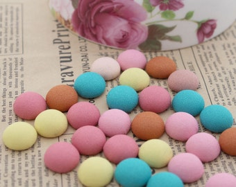 20pcs Covered Flat Back Cabochon (1.5 cm ) Girls Hair Clips Hairbands Embellishment