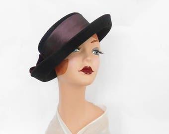 Vintage black tilt hat, 1970s Breton wide back bow, Importina