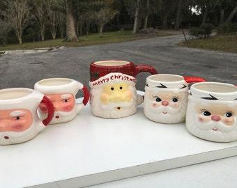 Set of 5 Santa Coffee Cups