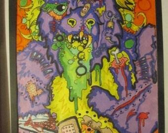 Nightmares Of Mr Munch Original Framed Drawing