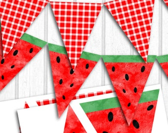 INSTANT DOWNLOAD Printable Watermelon Flag Banner on 8x11 300 dpi Sheet