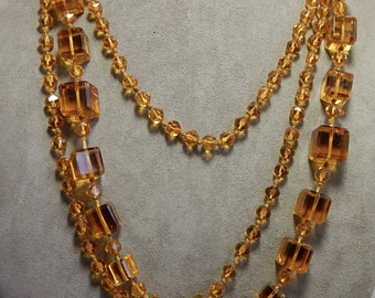 """Antique 60"""" Amber Square Glass Flapper Bead Necklace    OD22"""