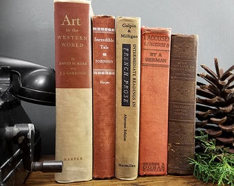 Vintage Collection of Books; Rustic Modern Farmhouse Decor,