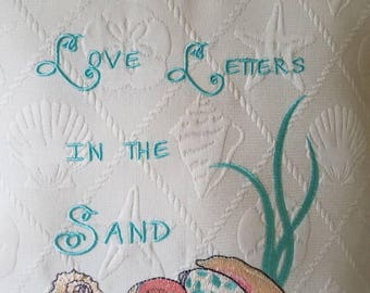 Embroidered Seashells Pillow - Seashells are Love Letters in the Sand - Customizable