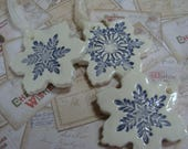Reserve Listing for Moore Only: Three Gorgeous Ceramic Snowflake Ornaments