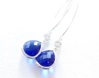 Long bridesmaiid earrings, cobalt blue bridesmaid earrings, Long cobalt blue earrings, bridesmaid blue earrings, bridesmaid gift, gifts
