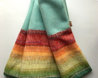 Handwoven Rainbow Blanket with Teal Woven Wool, Baby Blanket, Toddler Blanket