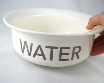 CUSTOM WATER BOWL - dog water bowl - cat water bowl - custom pet dish - add custom text - choose a color - gold or silver rim bowl - for pet
