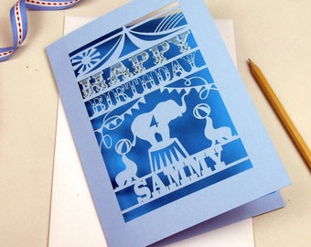 Personalised Papercut Laser Cut Elephant Circus Children's Birthday Age Card, sku_circus_birthday
