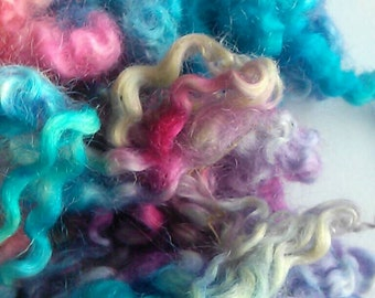 Dyed border Leicester locks, 1 ounce, purple, pink and turquoise
