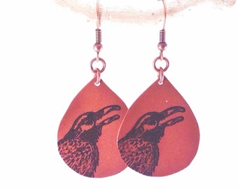 The Raven Calls - Copper raven or crow dangle earrings