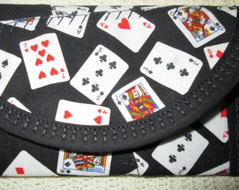 Playing Cards Fabric, 6 x 3 Crazy Quilted, Fun Money, Wallet money clip, Pouch coin purse bags & purses, Women teens, Vegas gambling money