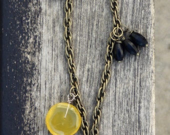 Yellow agate black bronze patina chain goth necklace