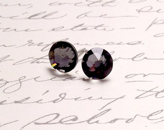 Hematite Black Swarovski Crystal Post Stud Earrings. Simple Sparking Earrings.