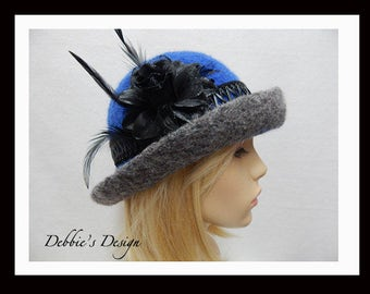 Women's Handmade Cloche Hat-537 Women's Felted Cloche Hat, Women's Cloche Hat, Women's Handmade Cloche, cloche felt hat, Downton abbey