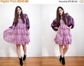 On Sale Vintage Indian Floral Gauze Cotton Boho Dress Balloon Sleeve Hippie Dress 70's