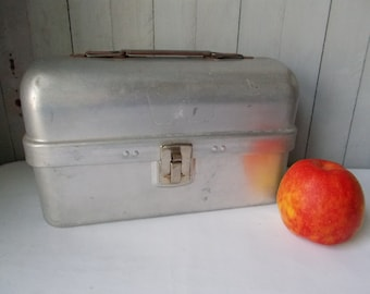 Vintage Industrial Silver Aluminum Lunch Box