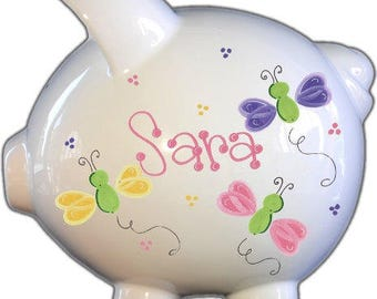 Personalized Piggy Bank with Pretty Butterflies Design | White | Pink and purple | Large | Baby Gift | Free Shipping