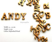 Alphabet Letters Buttons in Unfinished Wood for DIY Craft Scrapbooking Wall Art (Pick and Choose)
