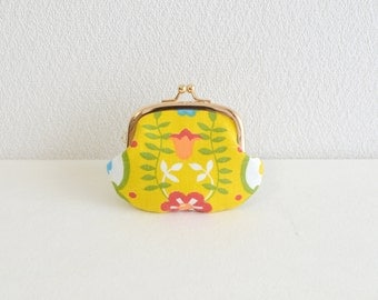 Vintage floral tiny coin purse -258- yellow, Handmade in Japan.
