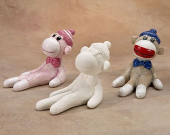 Ready to Paint Ceramic Sock Monkey  - Ceramic Bisque Supplies - Unfinished