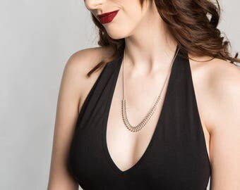 Fishbone Necklace // Statement Necklace // Chunky Necklace // Long Necklace // Silver Necklace // Geometric Jewelry // Geometric Necklace