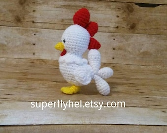 Little Rooster, Rooster Plushie, White Rooster Stuffie, Chicken Stuffed Animal, Barnyard Animal, Farm Animal Toy, Baby Rooster, Chicken