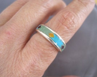 Vintage Sterling Turquoise Jade Spiny Oyster Zuni Ring