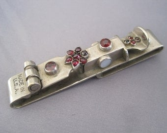 Vintage Stainless Steel Garnet Key or Watch Fob